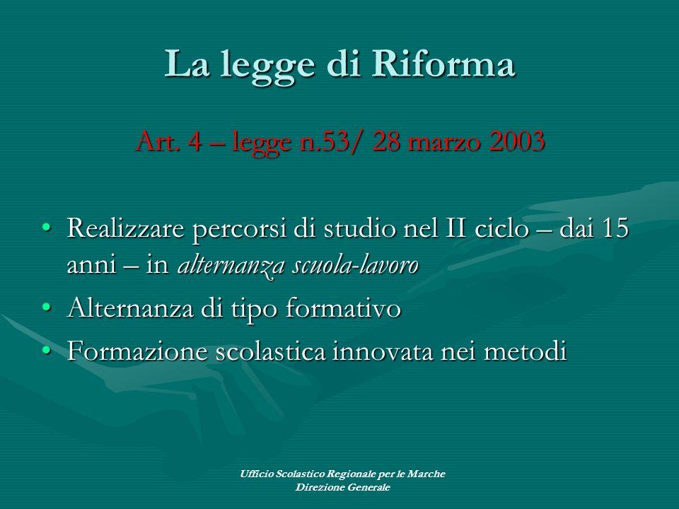 Ufficio Scolastico Regionale per le Marche Direzione Generale La legge di Riforma Art. 4 – legge n.53/ 28 marzo 2003 Realizzare percorsi di studio nel