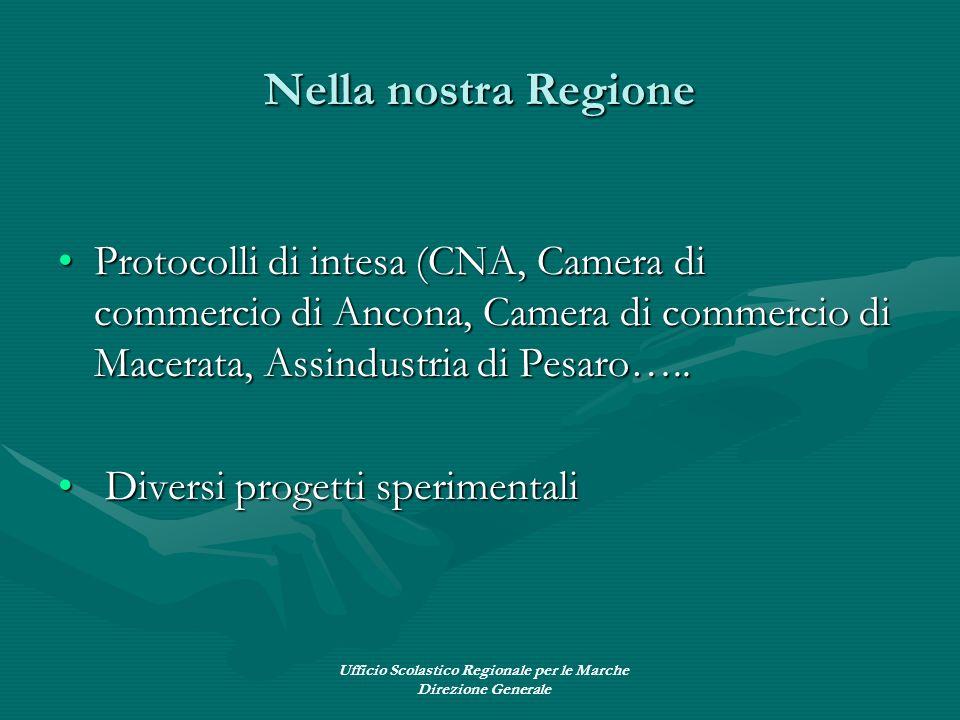 Ufficio Scolastico Regionale per le Marche Direzione Generale Nella nostra Regione Protocolli di intesa (CNA, Camera di commercio di Ancona, Camera di