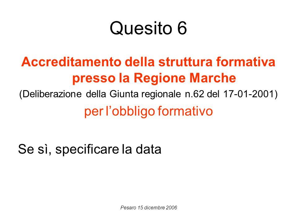 Pesaro 15 dicembre 2006 Quesito 6 Accreditamento della struttura formativa presso la Regione Marche (Deliberazione della Giunta regionale n.62 del 17-