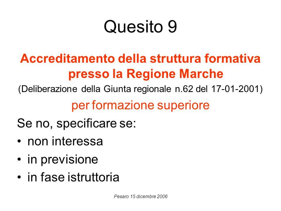 Pesaro 15 dicembre 2006 Quesito 9 Accreditamento della struttura formativa presso la Regione Marche (Deliberazione della Giunta regionale n.62 del 17-