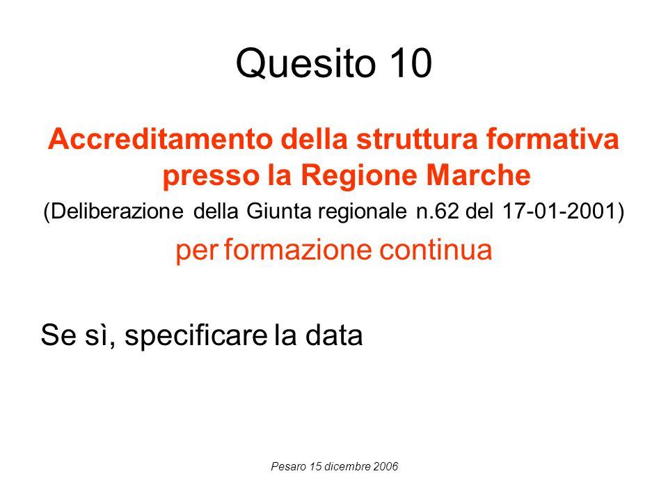 Pesaro 15 dicembre 2006 Quesito 10 Accreditamento della struttura formativa presso la Regione Marche (Deliberazione della Giunta regionale n.62 del 17-01-2001) per formazione continua Se sì, specificare la data