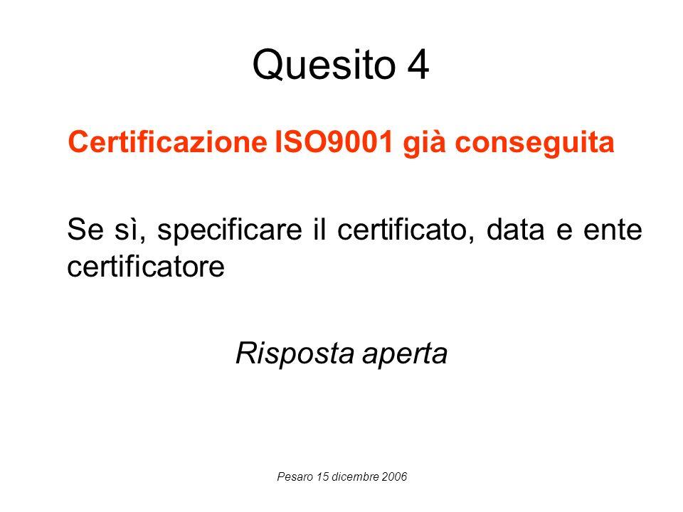 Pesaro 15 dicembre 2006 Quesito 4 Certificazione ISO9001 già conseguita Se sì, specificare il certificato, data e ente certificatore Risposta aperta