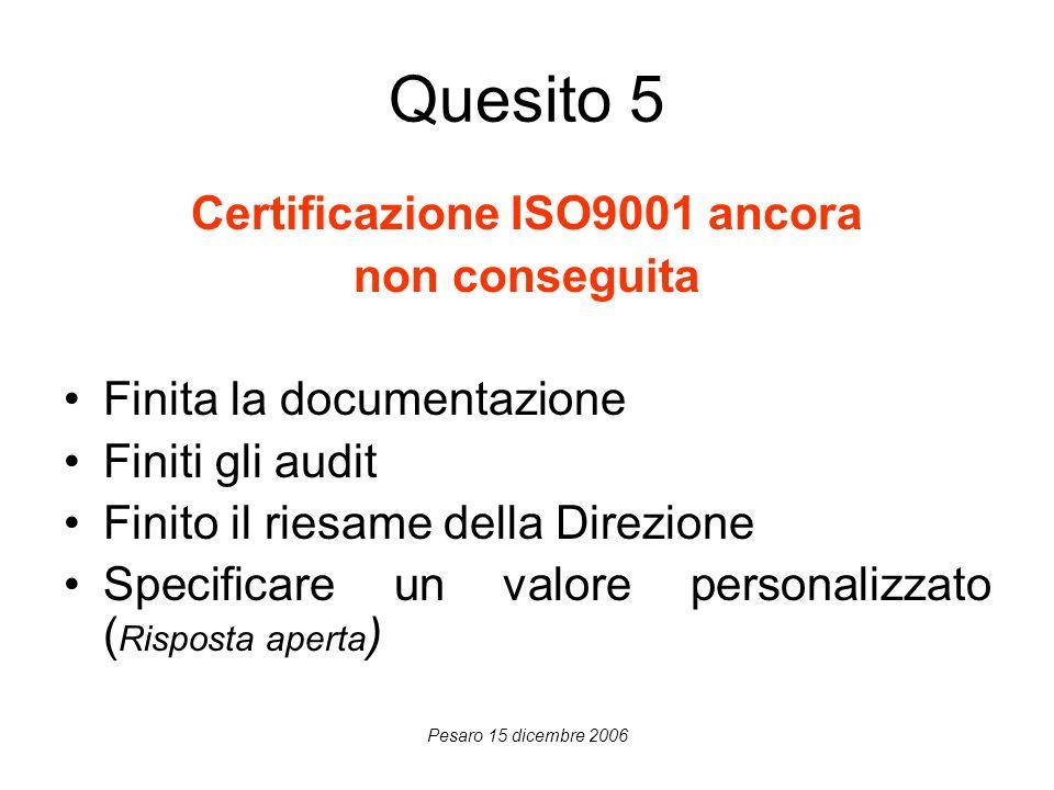 Pesaro 15 dicembre 2006 Quesito 5 Certificazione ISO9001 ancora non conseguita Finita la documentazione Finiti gli audit Finito il riesame della Direz