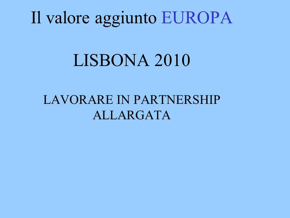 Il valore aggiunto EUROPA LISBONA 2010 LAVORARE IN PARTNERSHIP ALLARGATA