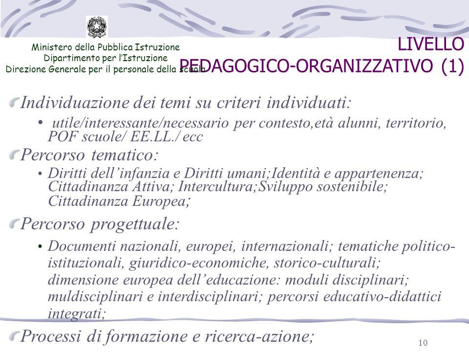 10 LIVELLO PEDAGOGICO-ORGANIZZATIVO (1) Ministero della Pubblica Istruzione Dipartimento per lIstruzione Direzione Generale per il personale della scu