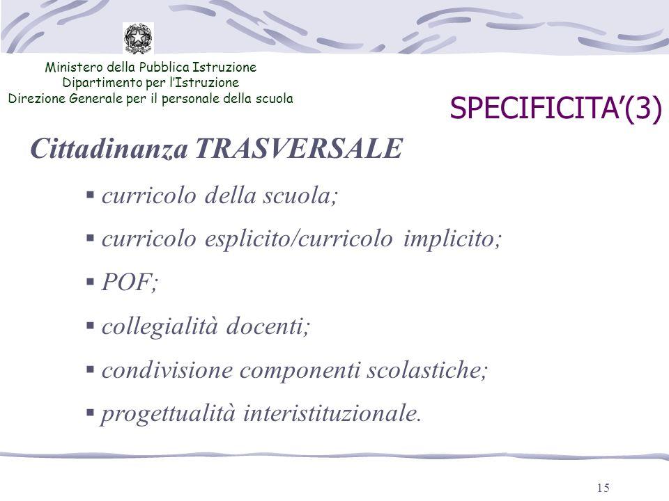 15 Ministero della Pubblica Istruzione Dipartimento per lIstruzione Direzione Generale per il personale della scuola SPECIFICITA(3) Cittadinanza TRASV