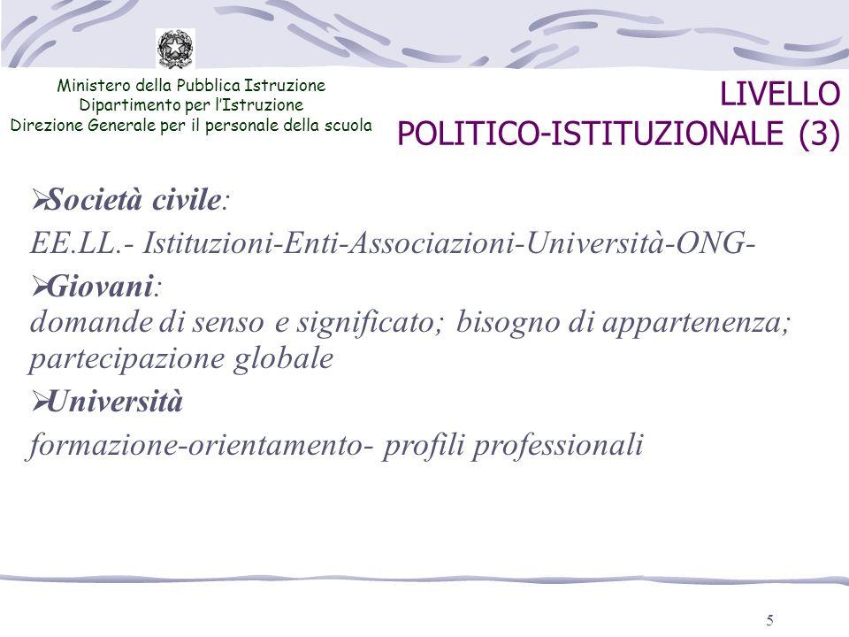 5 LIVELLO POLITICO-ISTITUZIONALE (3) Ministero della Pubblica Istruzione Dipartimento per lIstruzione Direzione Generale per il personale della scuola