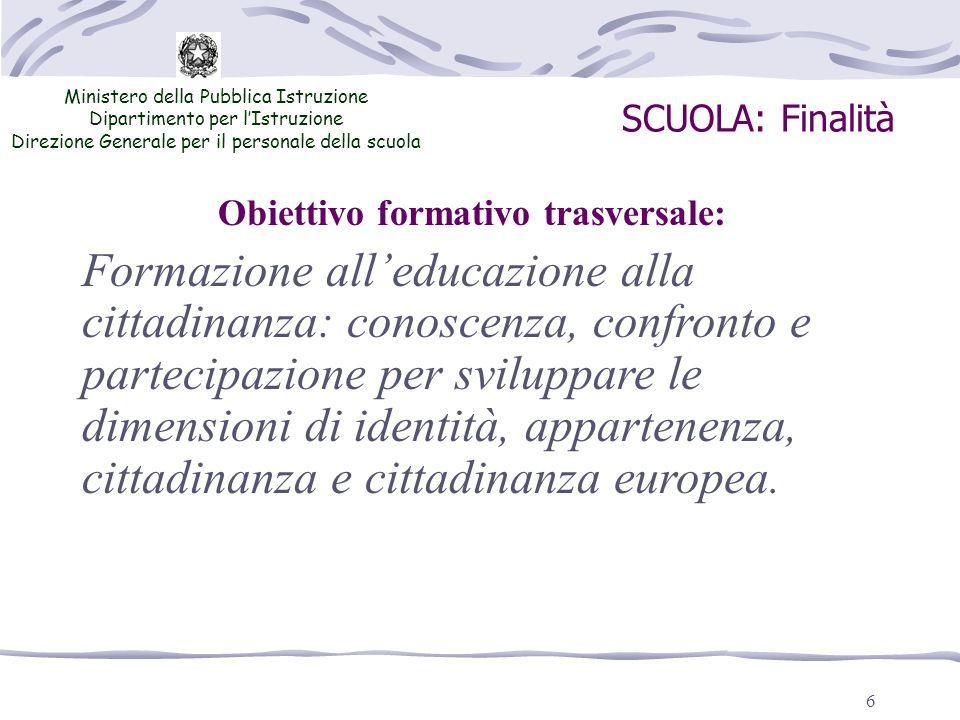 6 SCUOLA: Finalità Ministero della Pubblica Istruzione Dipartimento per lIstruzione Direzione Generale per il personale della scuola Formazione alledu
