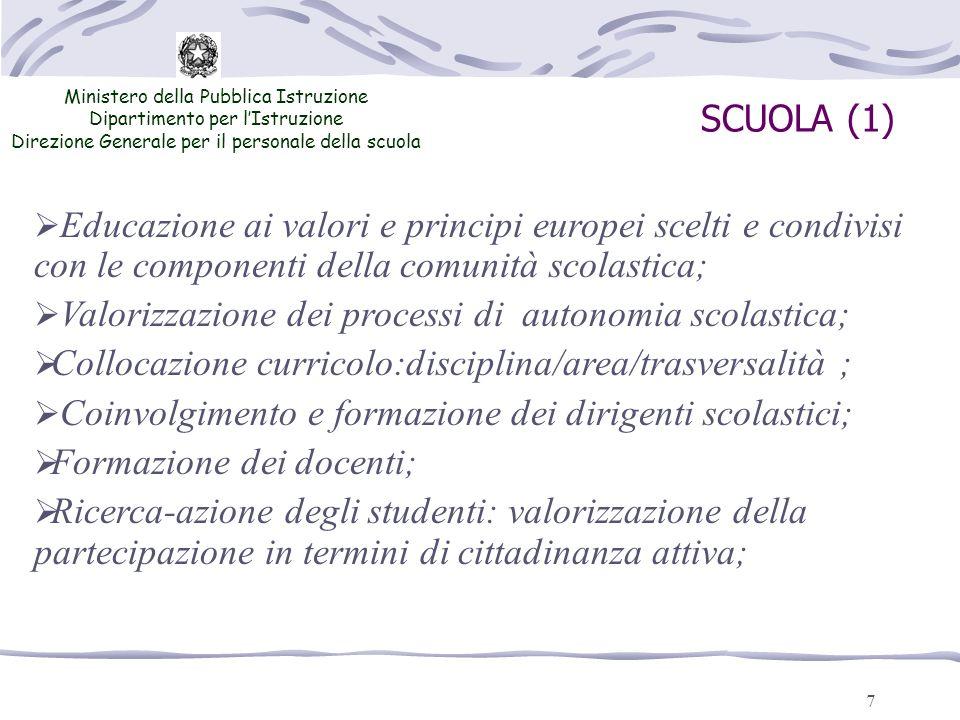7 SCUOLA (1) Ministero della Pubblica Istruzione Dipartimento per lIstruzione Direzione Generale per il personale della scuola Educazione ai valori e
