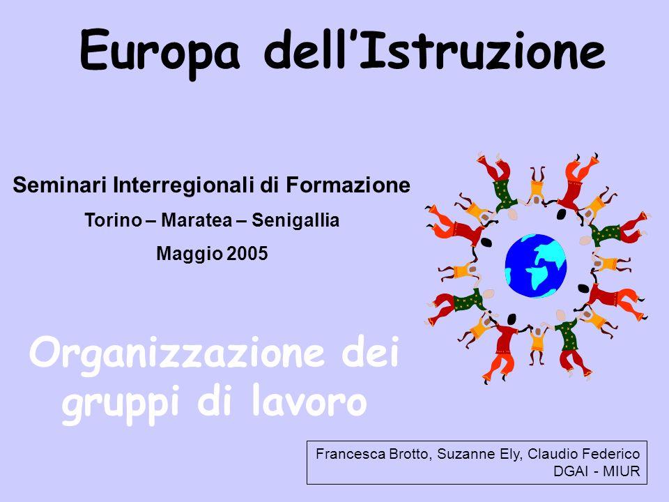 Europa dellIstruzione Seminari Interregionali di Formazione Torino – Maratea – Senigallia Maggio 2005 Organizzazione dei gruppi di lavoro Francesca Brotto, Suzanne Ely, Claudio Federico DGAI - MIUR