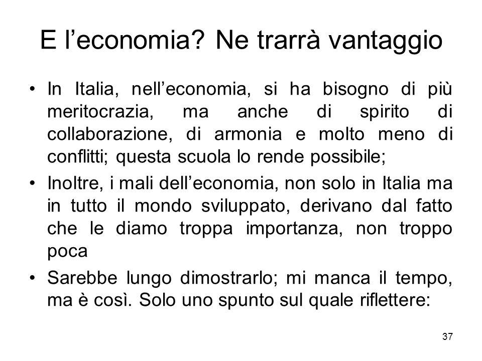 37 E leconomia? Ne trarrà vantaggio In Italia, nelleconomia, si ha bisogno di più meritocrazia, ma anche di spirito di collaborazione, di armonia e mo