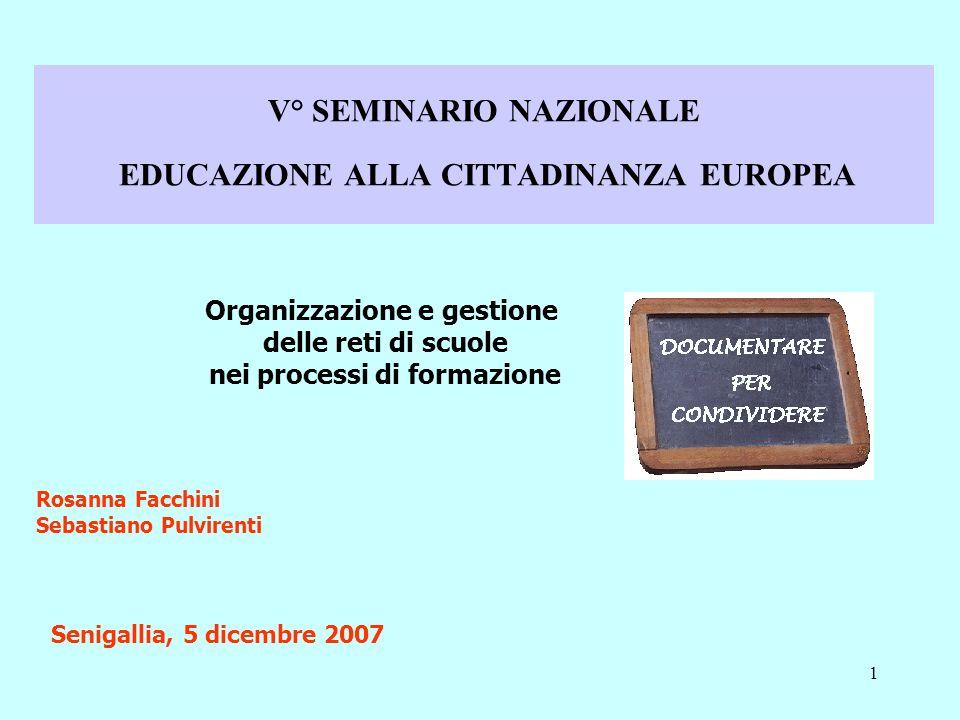 1 V° SEMINARIO NAZIONALE EDUCAZIONE ALLA CITTADINANZA EUROPEA Organizzazione e gestione delle reti di scuole nei processi di formazione Rosanna Facchini Sebastiano Pulvirenti Senigallia, 5 dicembre 2007