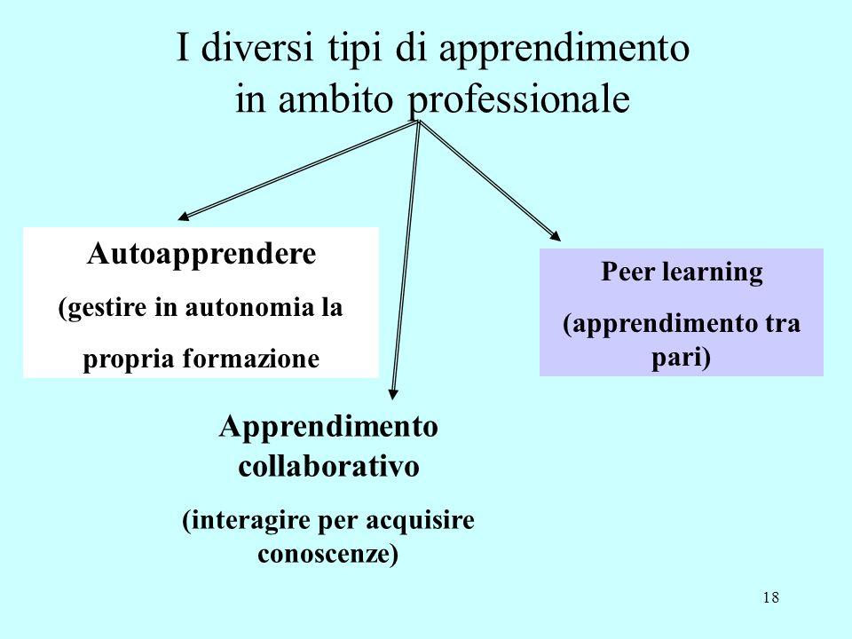 18 Autoapprendere (gestire in autonomia la propria formazione Apprendimento collaborativo (interagire per acquisire conoscenze) Peer learning (apprendimento tra pari) I diversi tipi di apprendimento in ambito professionale