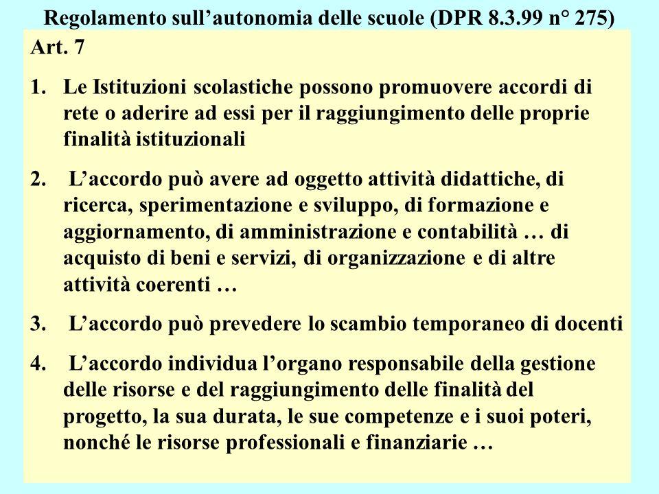 20 Regolamento sullautonomia delle scuole (DPR 8.3.99 n° 275) Art.
