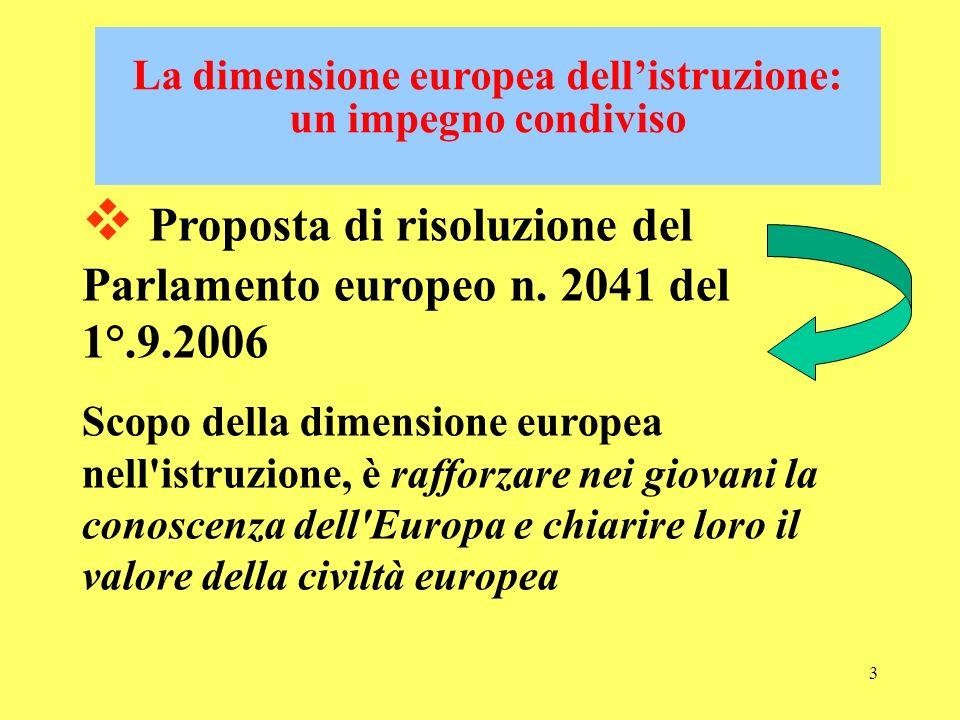 3 La dimensione europea dellistruzione: un impegno condiviso Proposta di risoluzione del Parlamento europeo n.