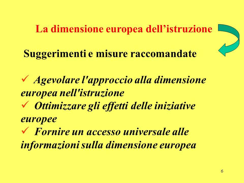 6 La dimensione europea dellistruzione Suggerimenti e misure raccomandate Agevolare l approccio alla dimensione europea nell istruzione Ottimizzare gli effetti delle iniziative europee Fornire un accesso universale alle informazioni sulla dimensione europea