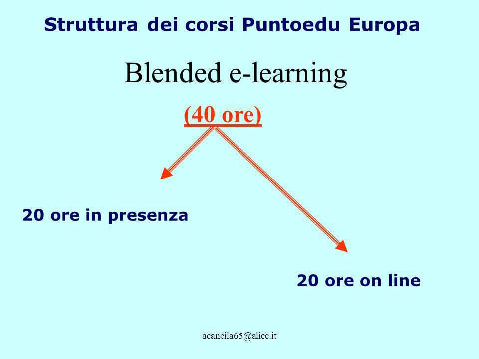 acancila65@alice.it Struttura dei corsi Puntoedu Europa 20 ore in presenza 20 ore on line (40 ore) Blended e-learning