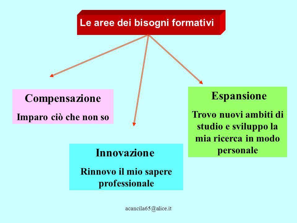 Le aree dei bisogni formativi Compensazione Imparo ciò che non so Innovazione Rinnovo il mio sapere professionale Espansione Trovo nuovi ambiti di studio e sviluppo la mia ricerca in modo personale