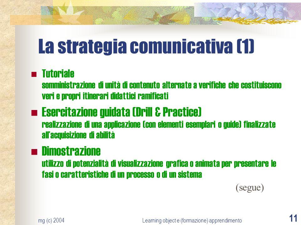 mg (c) 2004Learning object e (formazione) apprendimento 11 La strategia comunicativa (1) Tutoriale somministrazione di unità di contenuto alternate a