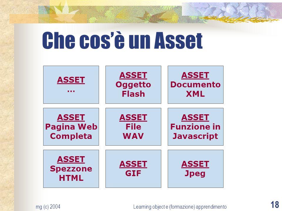 mg (c) 2004Learning object e (formazione) apprendimento 18 Che cosè un Asset ASSET Pagina Web Completa ASSET Oggetto Flash ASSET Spezzone HTML ASSET G