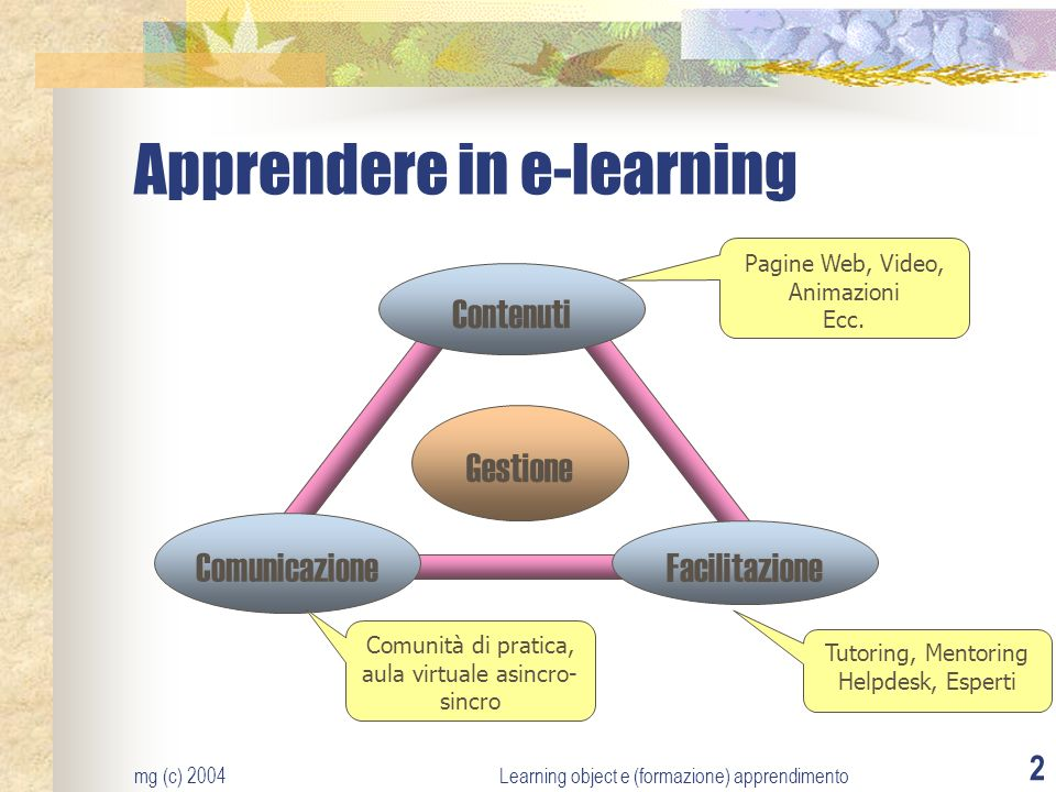 mg (c) 2004Learning object e (formazione) apprendimento 2 Apprendere in e-learning Contenuti Comunicazione Facilitazione Gestione Pagine Web, Video, Animazioni Ecc.