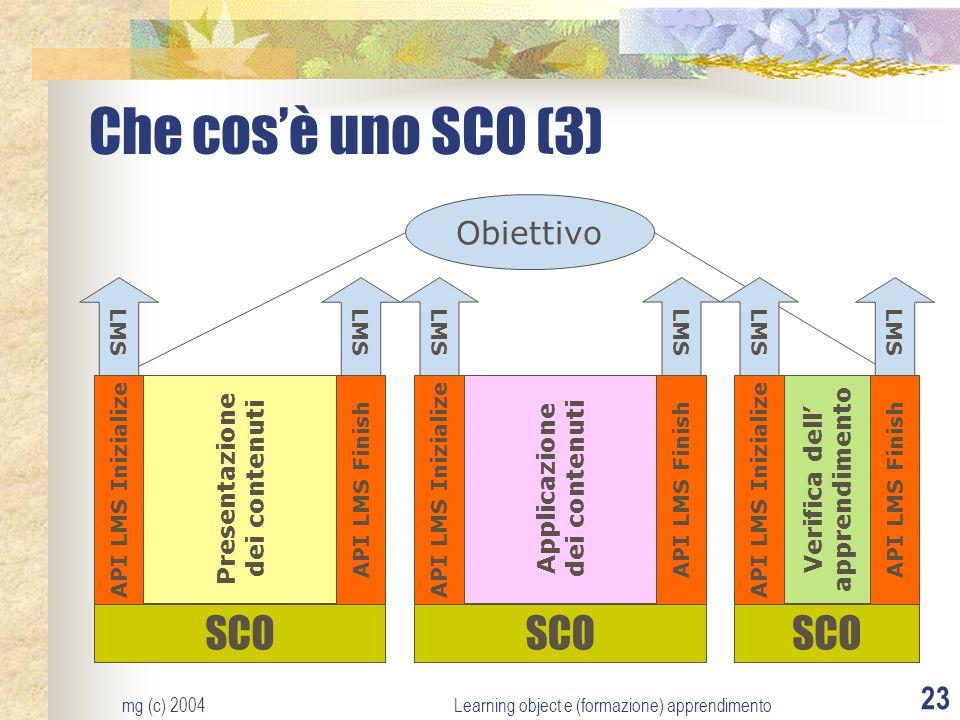 mg (c) 2004Learning object e (formazione) apprendimento 23 Che cosè uno SCO (3) Obiettivo LMS SCO API LMS Inizialize API LMS Finish Presentazione dei