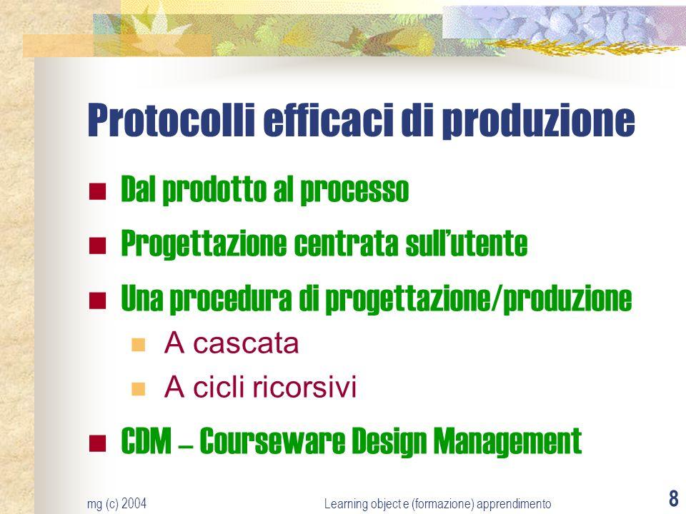 mg (c) 2004Learning object e (formazione) apprendimento 8 Protocolli efficaci di produzione Dal prodotto al processo Progettazione centrata sullutente Una procedura di progettazione/produzione A cascata A cicli ricorsivi CDM – Courseware Design Management