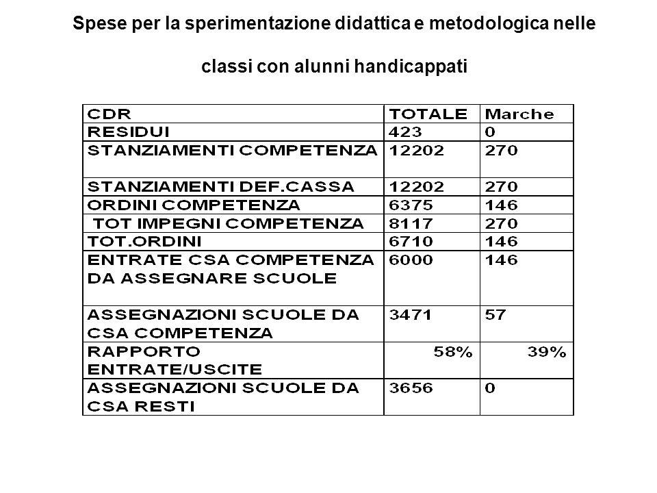 Spese per la sperimentazione didattica e metodologica nelle classi con alunni handicappati
