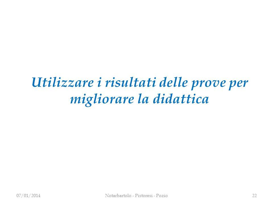 Utilizzare i risultati delle prove per migliorare la didattica 2207/01/2014Notarbartolo - Pistoresi - Pozio