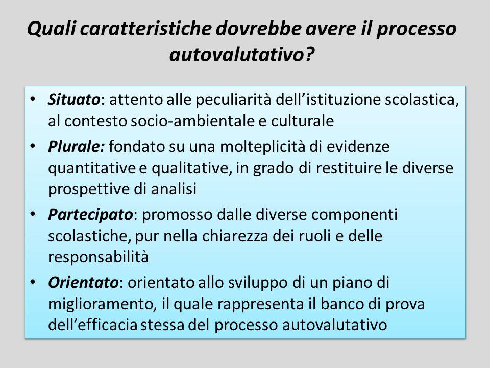 Quali caratteristiche dovrebbe avere il processo autovalutativo? Situato: attento alle peculiarità dellistituzione scolastica, al contesto socio-ambie