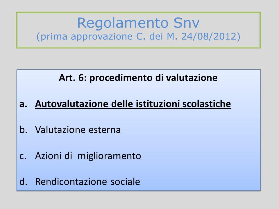 Regolamento Snv (prima approvazione C. dei M. 24/08/2012) Art. 6: procedimento di valutazione a.Autovalutazione delle istituzioni scolastiche b.Valuta
