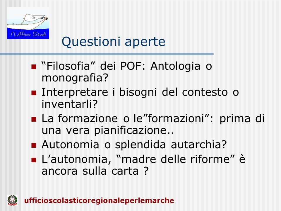 Questioni aperte Filosofia dei POF: Antologia o monografia? Interpretare i bisogni del contesto o inventarli? La formazione o leformazioni: prima di u