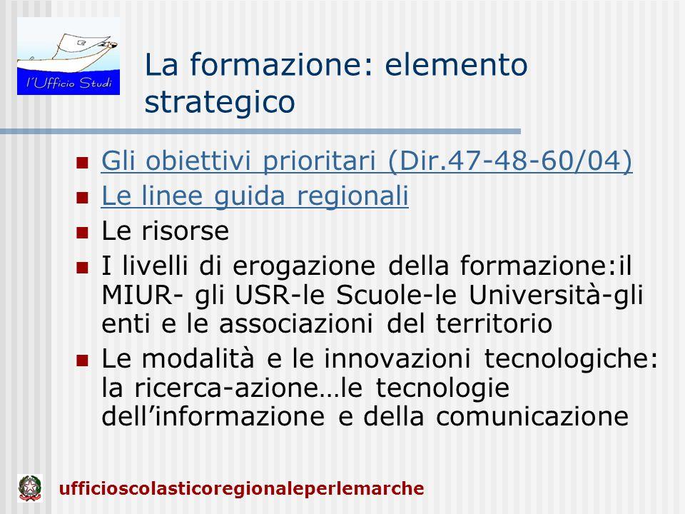 La formazione: elemento strategico Gli obiettivi prioritari (Dir.47-48-60/04) Le linee guida regionali Le risorse I livelli di erogazione della formaz