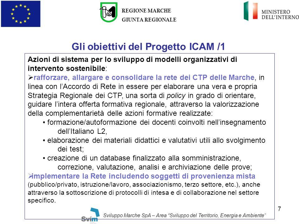 7 Gli obiettivi del Progetto ICAM /1 REGIONE MARCHE GIUNTA REGIONALE Sviluppo Marche SpA – Area Sviluppo del Territorio, Energia e Ambiente Azioni di