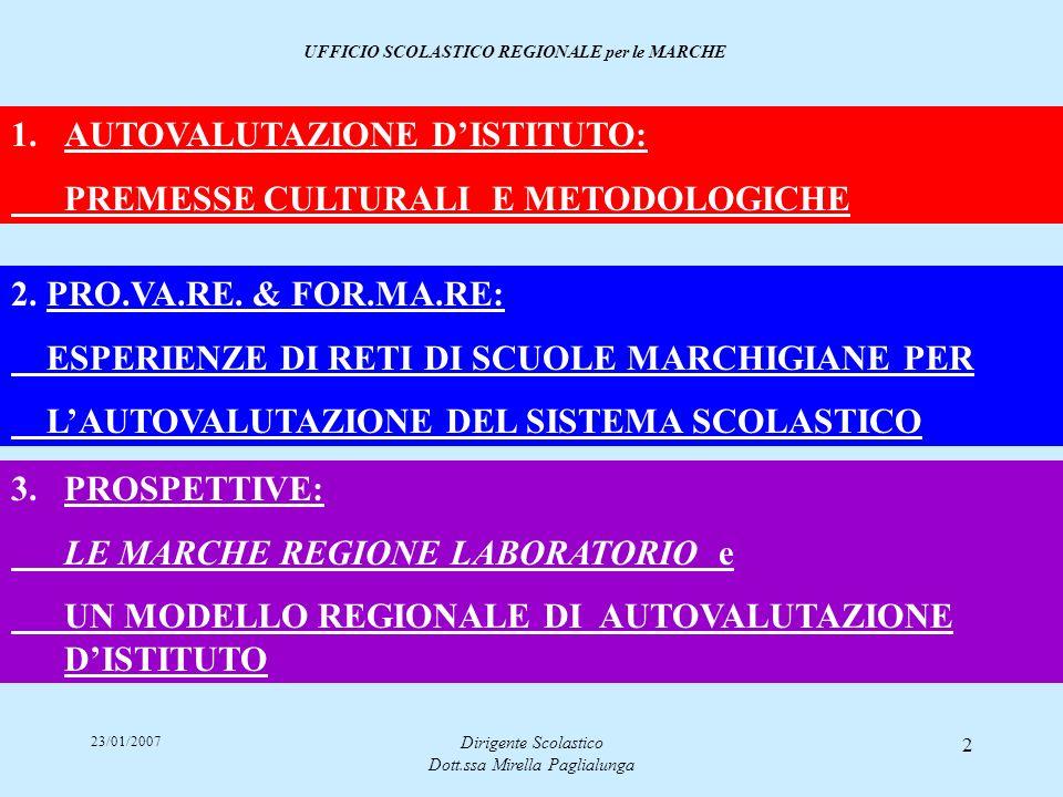23/01/2007 Dirigente Scolastico Dott.ssa Mirella Paglialunga 2 3. PROSPETTIVE:PROSPETTIVE: LE MARCHE REGIONE LABORATORIO e UN MODELLO REGIONALE DI AUT