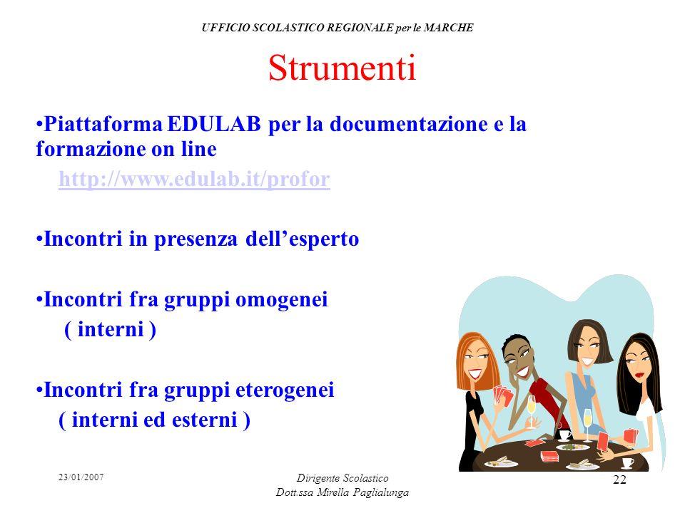 23/01/2007 Dirigente Scolastico Dott.ssa Mirella Paglialunga 22 Strumenti Piattaforma EDULAB per la documentazione e la formazione on line http://www.