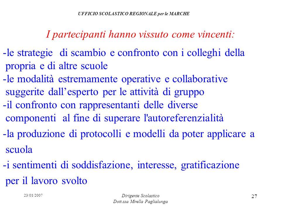 23/01/2007 Dirigente Scolastico Dott.ssa Mirella Paglialunga 27 -le strategie di scambio e confronto con i colleghi della propria e di altre scuole -l