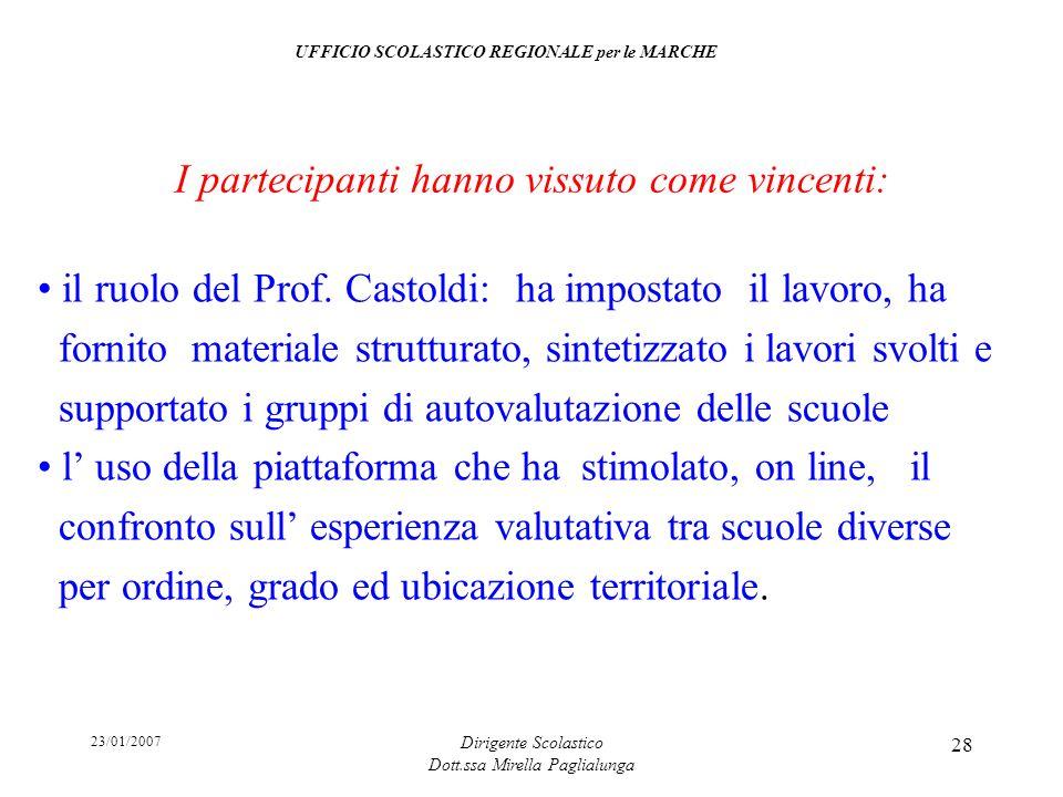 23/01/2007 Dirigente Scolastico Dott.ssa Mirella Paglialunga 28 il ruolo del Prof. Castoldi: ha impostato il lavoro, ha fornito materiale strutturato,