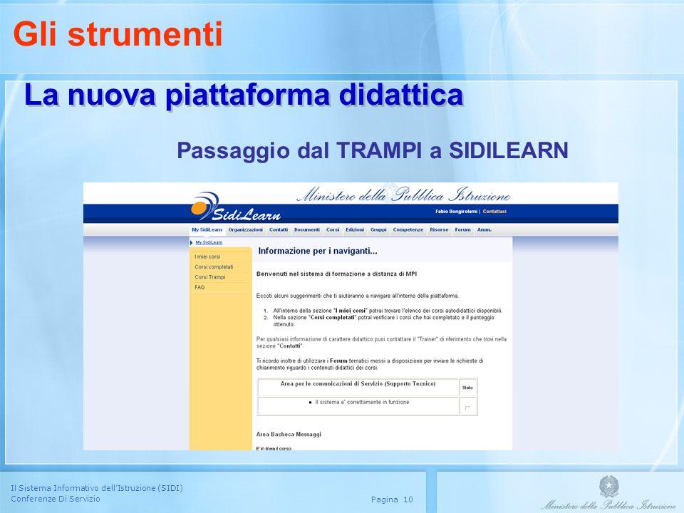 Il Sistema Informativo dellIstruzione (SIDI) Conferenze Di Servizio Pagina 10 La nuova piattaforma didattica Passaggio dal TRAMPI a SIDILEARN Gli stru