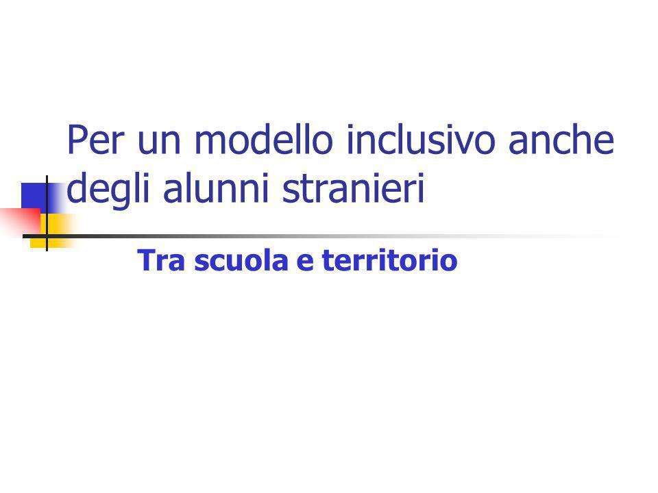 Per un modello inclusivo anche degli alunni stranieri Tra scuola e territorio