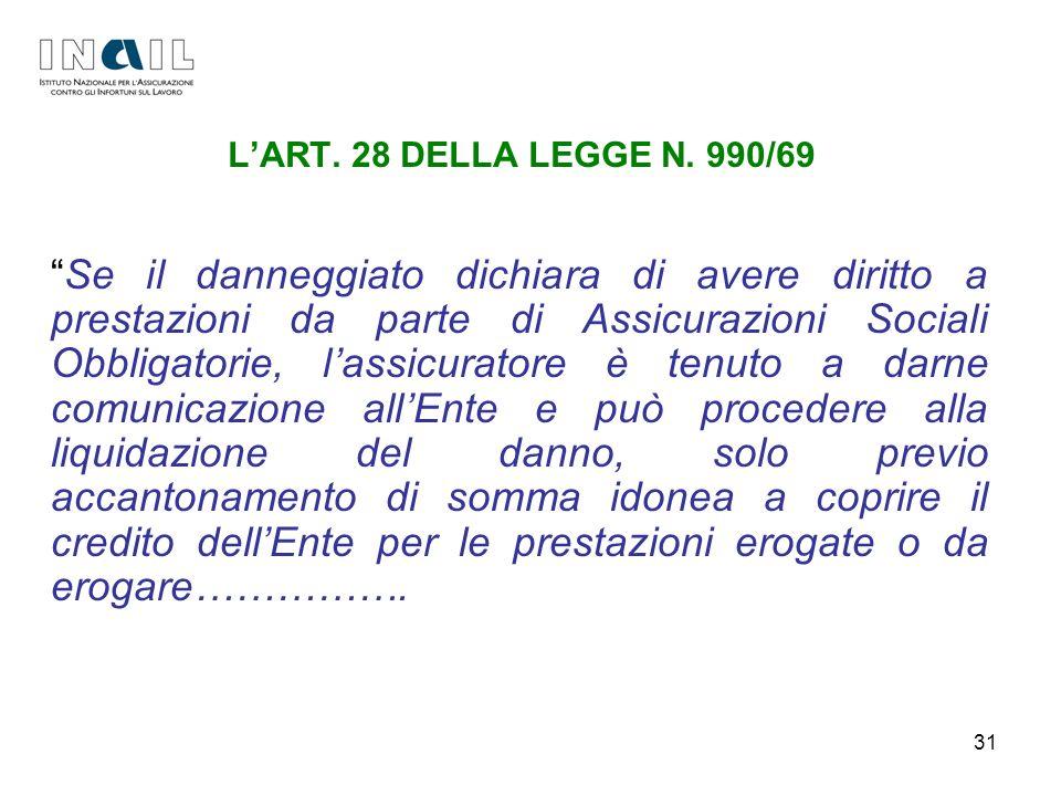 31 LART. 28 DELLA LEGGE N. 990/69 Se il danneggiato dichiara di avere diritto a prestazioni da parte di Assicurazioni Sociali Obbligatorie, lassicurat