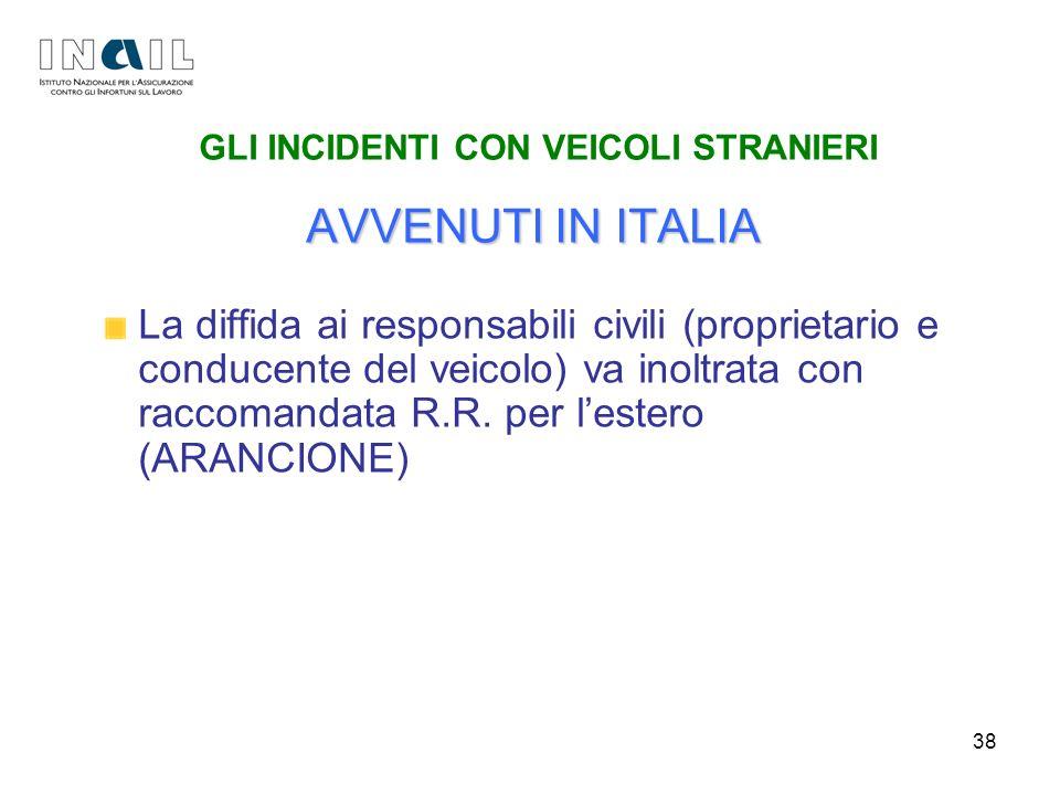 38 GLI INCIDENTI CON VEICOLI STRANIERI AVVENUTI IN ITALIA La diffida ai responsabili civili (proprietario e conducente del veicolo) va inoltrata con r