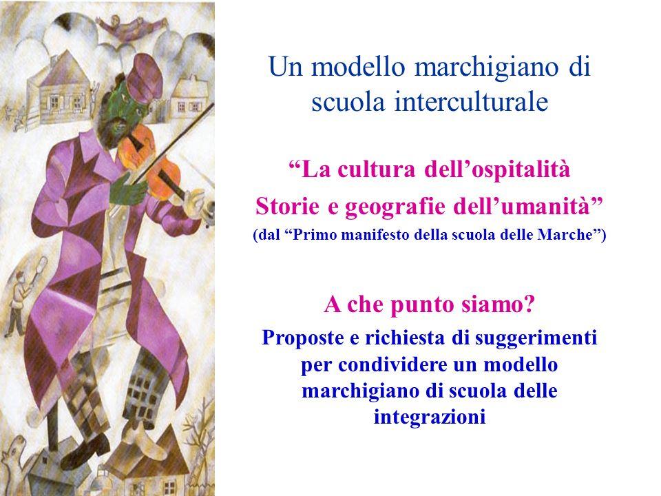 Un modello marchigiano di scuola interculturale La cultura dellospitalità Storie e geografie dellumanità (dal Primo manifesto della scuola delle Marche) A che punto siamo.