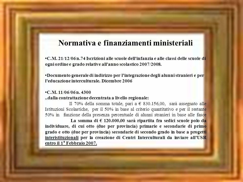Normativa e finanziamenti ministeriali C.M. 21/12/06 n.74 Iscrizioni alle scuole dell'infanzia e alle classi delle scuole di ogni ordine e grado relat