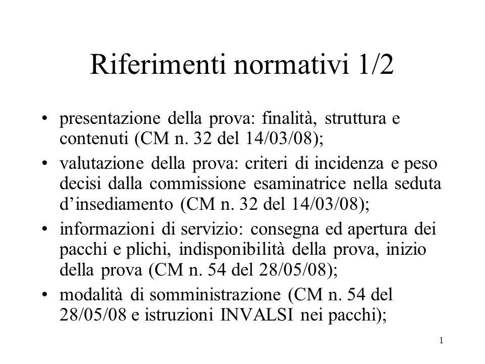 1 Riferimenti normativi 1/2 presentazione della prova: finalità, struttura e contenuti (CM n. 32 del 14/03/08); valutazione della prova: criteri di in