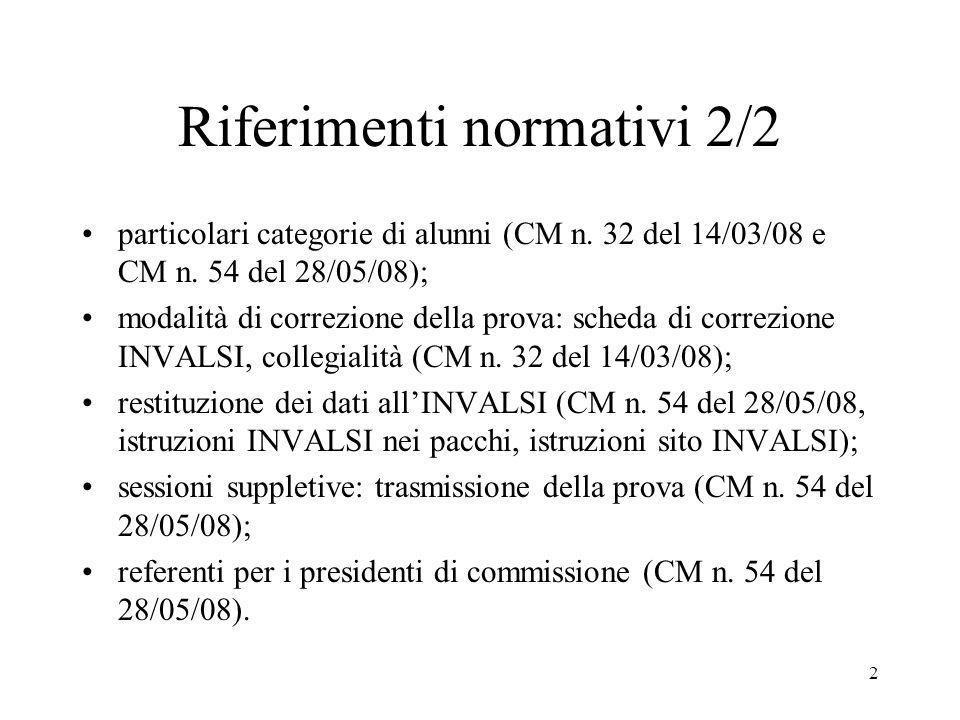 2 Riferimenti normativi 2/2 particolari categorie di alunni (CM n. 32 del 14/03/08 e CM n. 54 del 28/05/08); modalità di correzione della prova: sched