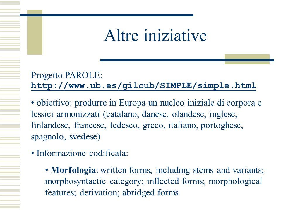 Altre iniziative Progetto PAROLE: http://www.ub.es/gilcub/SIMPLE/simple.html http://www.ub.es/gilcub/SIMPLE/simple.html obiettivo: produrre in Europa un nucleo iniziale di corpora e lessici armonizzati (catalano, danese, olandese, inglese, finlandese, francese, tedesco, greco, italiano, portoghese, spagnolo, svedese) Informazione codificata: Morfologia: written forms, including stems and variants; morphosyntactic category; inflected forms; morphological features; derivation; abridged forms