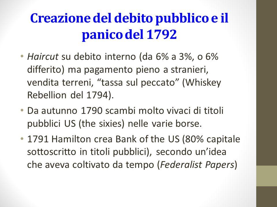 Creazione del debito pubblico e il panico del 1792 Haircut su debito interno (da 6% a 3%, o 6% differito) ma pagamento pieno a stranieri, vendita terreni, tassa sul peccato (Whiskey Rebellion del 1794).
