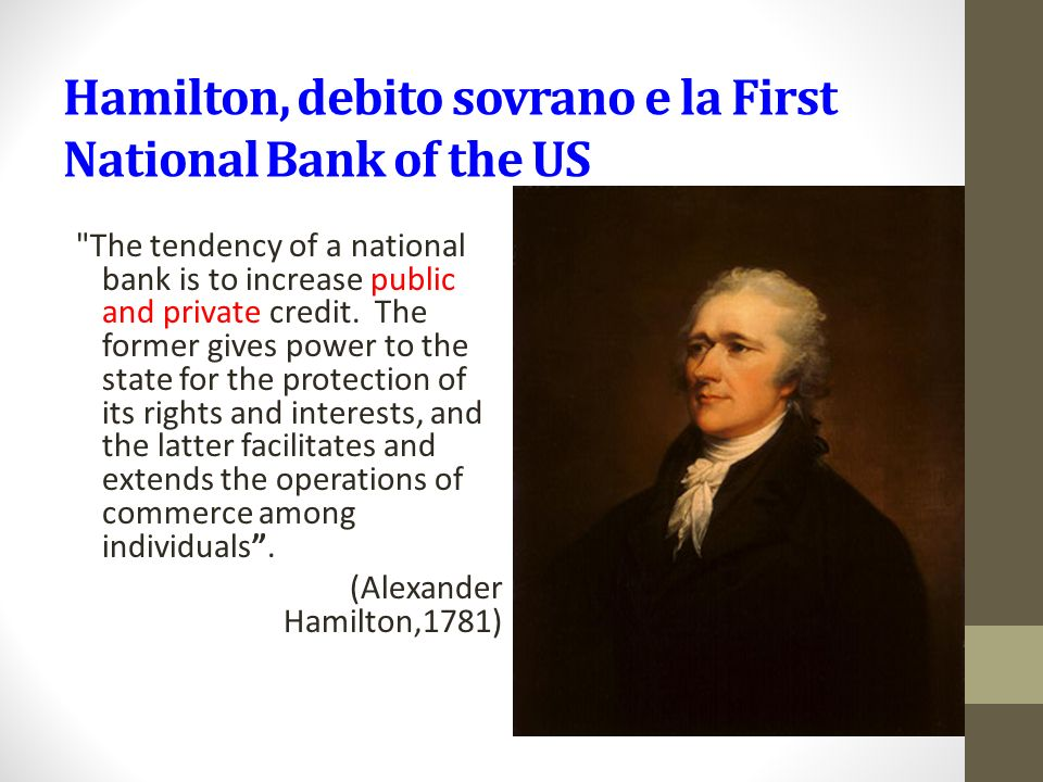 Hamilton, debito sovrano e la First National Bank of the US