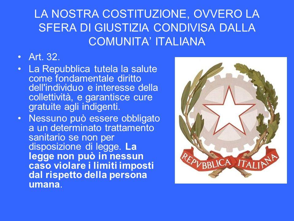 LA NOSTRA COSTITUZIONE, OVVERO LA SFERA DI GIUSTIZIA CONDIVISA DALLA COMUNITA ITALIANA Art. 32. La Repubblica tutela la salute come fondamentale dirit